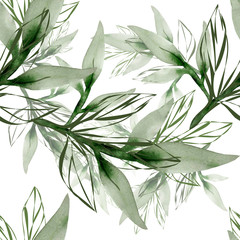 Peony branch in watercolor and count on a colored background.Seamless pattern.