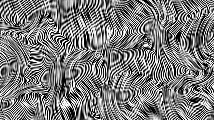 Monochrome doodle waves texture for web wallpaper. Striped vector background for horizontal wide screen 16x9. Black and white curly lines pattern for textile design.