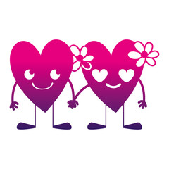 silhouette nice hearts couple kawaii with arms and legs