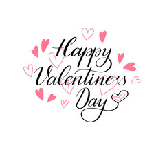 Happy valentine day lettering with hearts, handwritten decorative vector text, Calligraphic love lettering
