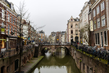 CANAL, Utrecht, Netherlands - December 3, 2017: View of a bridge in Utrecht.