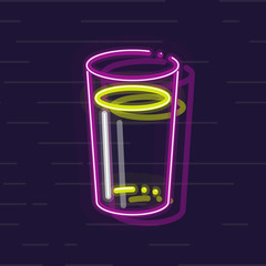 Neon craft beer pint. Isolated on wall background flat line art style.