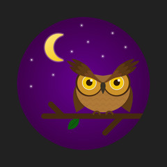 Cute owl on a brunch. Cartoon night owl. Flat vector illustration.