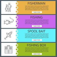 Fishing web banner templates set