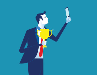 Businessman photograph with a trophy. Concept business vector illustration.