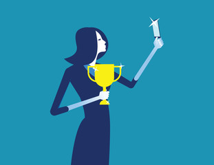 Businesswoman photograph with a trophy. Concept business vector illustration.