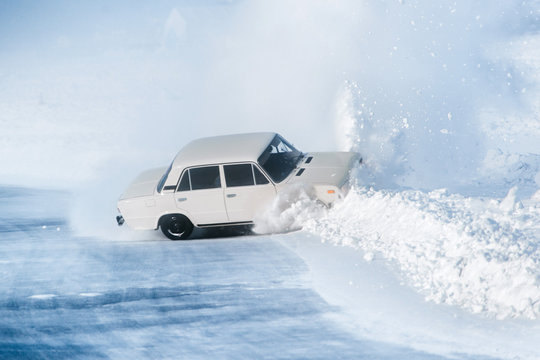 Car accident in winter. The danger of driving in winter. Attention ice. Studded rubber. Skid car.