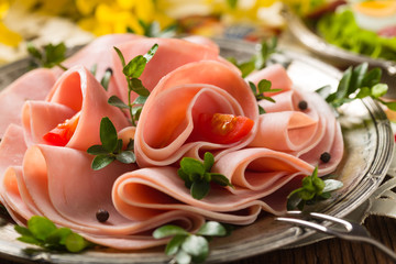 Sliced ham with decoration Easter.