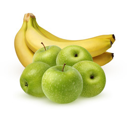 Green apples and a bunch of bananas on white background.