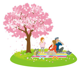 Family picnic in spring nature -Clip art