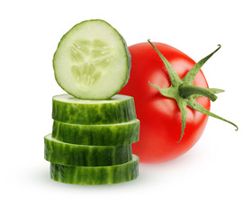 One whole tomato and cucumber slices on white background.