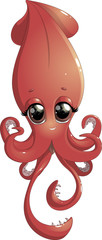 cartoon cheerful squid