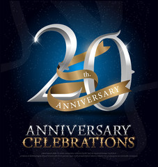 20th years anniversary celebration silver and gold logo with golden ribbon on dark blue background. vector illustrator