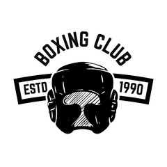 Boxing club. Emblem with boxing hand drawn boxing helmet. Design element for logo, label, emblem, sign.