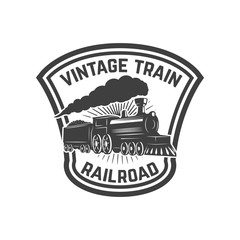 Emblem template with retro train. Rail road. Locomotive. Design element for logo, label, emblem, sign.