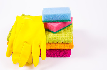 Set of cleaning up stuff isolated on white background.