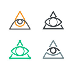 All Seeing Eye icons set. Illuminati symbol