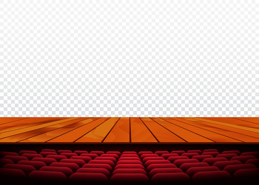 Theater or cinema stage with wooden floor and armchair. Vector