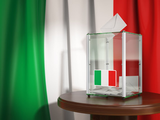 Ballot box with flag of Italy and voting papers.Italian residential or parliamentary election.