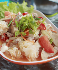 Seafood salad with Spicy and Delicious food