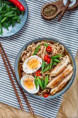 Ramen Noodle Soup with egg and chicken