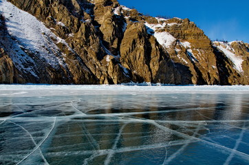 Russia. The Eastern Siberia. The unique ice lake Baikal.