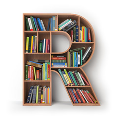 Letter R. Alphabet in the form of shelves with books isolated on white.