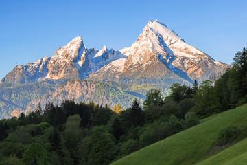 Snow-crowned Watzmann mount in famous Bavarian national park Berchtesgaden Wall mural