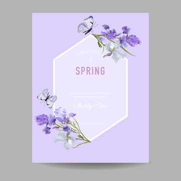 Floral Bloom Spring Frame with Purple Iris Flowers. Invitation, Poster, Greeting Card Flyer Template. Vector illustration