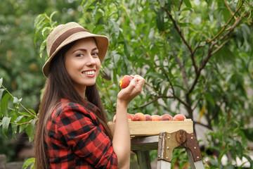 woman gardener with peach