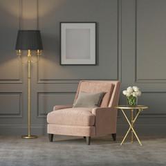 Classic luxury salmon pink velvet armchair
