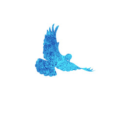 Dove pigeon watertcolor silhouette isolated on white background