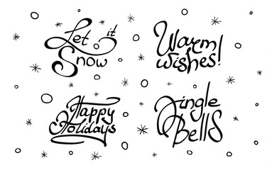Set of Christmas and New Year lettering