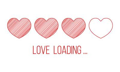 love loading, hearts progress bar