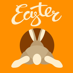 rabbit in a hole  happy  easter  vector illustration flat