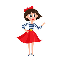 vector flat cartoon beautiful young woman in red felt beret, long skirt, striped tshirt smiling. French, parisian style female portrait full length. Isolated illustration ona white background.