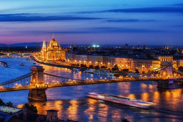 Printed kitchen splashbacks Budapest Budapest City in Hungary at Evening Twilight