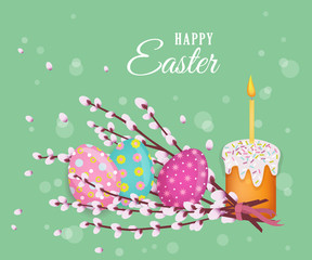 vector easter holiday poster, banner background template with spring festive elements - decorated eggs, easter cake with candle, pussy willow twigs for your design. Illustration on green background.