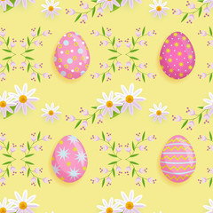 vector easter holiday seamless pattern with spring festive elements - decorated eggs, daisy flowers with leaves for your design. Flat style illustration