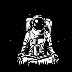 Vector astronaut meditating in open capacity