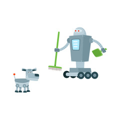 Funny flat robots set. Humanoid cleaner on wheels holding fetlock and shovel, mechanical dog with antenna-tail. Modern technology, artificial intelligence concept. Isolated vector illustration
