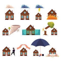 Set of house insurance icons - protection from hurricane, fire, flood, theft, falling trees, lightning, cartoon style vector illustration isolated on white background. House insurance concept icons