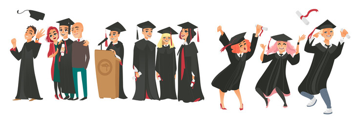 vector flat college, university graduates scenes set. Boy standing hugging parents, friends in graduation gown, caps standing smiling holding diplomas celebrating, dancing. Isolated illustration.