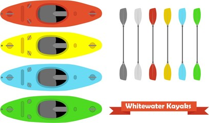 whitewater kayaks with paddle in differnt colours