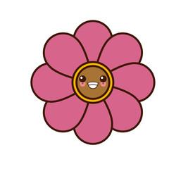 Flower round symbol cute kawaii cartoon vector illustration design