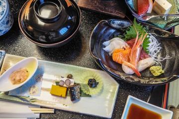 Japanese food set at the restaurant.