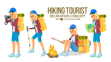 Hiking Woman Vector. Hiking In Mountains. Adventures In Nature, Vacation. Isolated Flat Cartoon Character Illustration