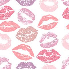 Seamless pattern with lipstick kisses. Colorful lips of gentle purple and pink shades isolated on a white background.fabric print, wrapping or romantic greeting card design. Lipstick kiss vector