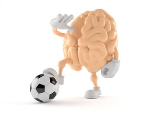 Brain character with soccer ball