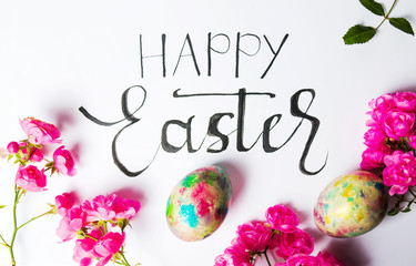 Handwritten Happy Easter card with colorful eggs
